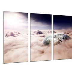 MULTI Wood Printings, Picture Wall Hanging, Space, the Earth, Cielo