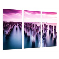 MULTI Wood Printings, Picture Wall Hanging, Landscape Lake Mountain Atardecer