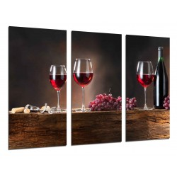 MULTI Wood Printings, Picture Wall Hanging, Wine Red, Grapes, Bodega