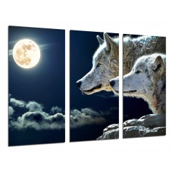 MULTI Wood Printings, Picture Wall Hanging, Wolfs With Full Moon in the Nature