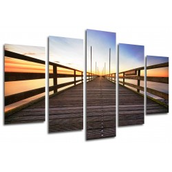 MULTI Wood Printings, Picture Wall Hanging, Gangway Bridge Beach  Mar