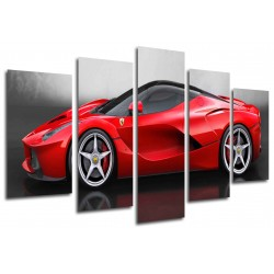 MULTI Wood Printings, Picture Wall Hanging, Car Ferrari Rojo