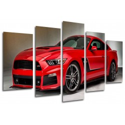 MULTI Wood Printings, Picture Wall Hanging, Car Mustang Rojo