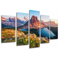 MULTI Wood Printings, Picture Wall Hanging, Lake Nature, Atardecer