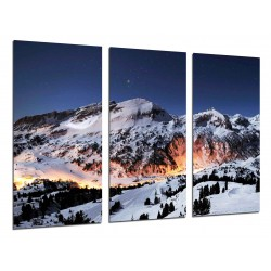 MULTI Wood Printings, Picture Wall Hanging, Mountain Sunset Nevado