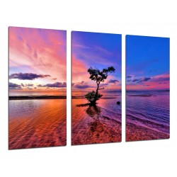 MULTI Wood Printings, Picture Wall Hanging, Landscape Nature Lake Atardecer