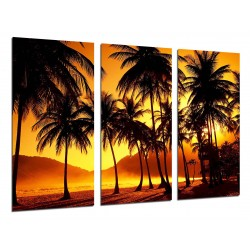 MULTI Wood Printings, Picture Wall Hanging, Landscape Palms Beach Atardecer