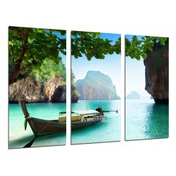MULTI Wood Printings, Picture Wall Hanging, Landscape Boat in the PLaya