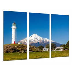 MULTI Wood Printings, Picture Wall Hanging, Landscape of Lighthouse in the Mountain Taranaki
