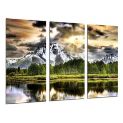 MULTI Wood Printings, Picture Wall Hanging, Landscape Lake Mountain Snowy