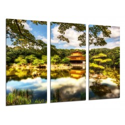 MULTI Wood Printings, Picture Wall Hanging, Landscape Pagoda in Lago