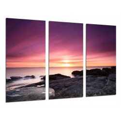 MULTI Wood Printings, Picture Wall Hanging, Landscape Sunset Beach in the Mar