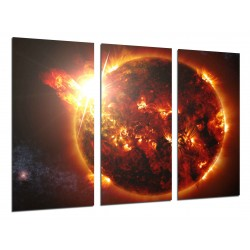 MULTI Wood Printings, Picture Wall Hanging, Sun, Star in the Espacio