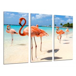 MULTI Wood Printings, Picture Wall Hanging, Landscape Flamingos in the Playa