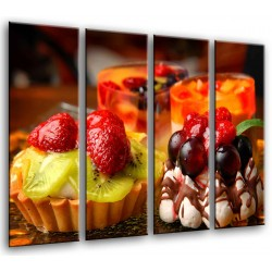 MULTI Wood Printings, Picture Wall Hanging, Desserts, Fruit With Chocolate