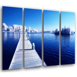 MULTI Wood Printings, Picture Wall Hanging, Gangway in the Lake Helado