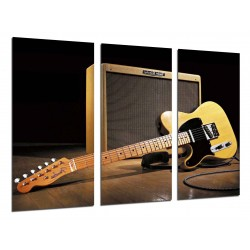 MULTI Wood Printings, Picture Wall Hanging, Music, Instrument Guitar Fender Stratocaster, Rock