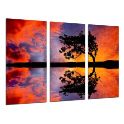 MULTI Wood Printings, Picture Wall Hanging, Landscape Sunset Lake, Tree in the Lago