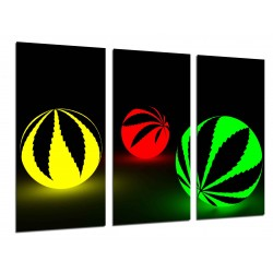 MULTI Wood Printings, Picture Wall Hanging, Balls Cannabis, Balls of Colors