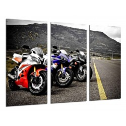 MULTI Wood Printings, Picture Wall Hanging, Motorbikes of Races Yamaha, Road