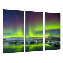 MULTI Wood Printings, Picture Wall Hanging, Northern Lights, Sky Green